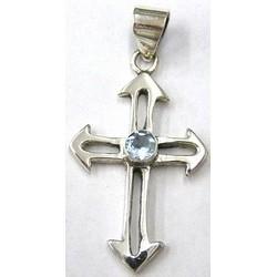 Hanger kruis 40mm zilver 925 lichtsaffier steen
