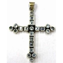Hanger kruis 60mm zilver 925 lichtsaffier steen