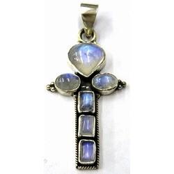 Hanger kruis 40mm zilver 925 opaline steen