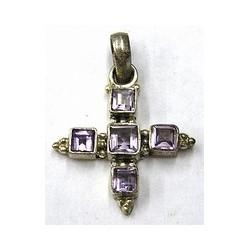 Hanger kruis 27mm zilver 925 l.amethist steen