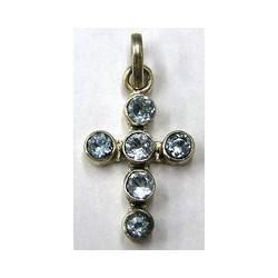 Hanger kruis 27mm zilver 925 aquamarijn steen