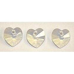 Swarovski hanger hart 10mm white opal p/st