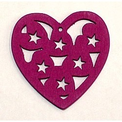 Houten hart 23mm opengewerkt rose p.st.
