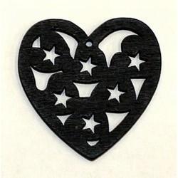 Houten hart 23mm opengewerkt zwart p.st.