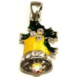 Swarovski bedel Kerstklok geel + kettinghanger