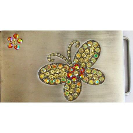 Swarovski riemgesp 5x8,5cm vlinder citrien/topaas voor 4cm riem