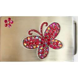 Swarovski riemgesp 5x8,5cm vlinder roze/fuchsia voor 4cm riem