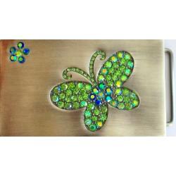 Swarovski riemgesp 5x8,5cm vlinder Peridoot/AB voor 4cm riem