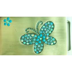 Swarovski riemgesp 5x8,5cm vlinder aqua/blauw voor 4cm riem